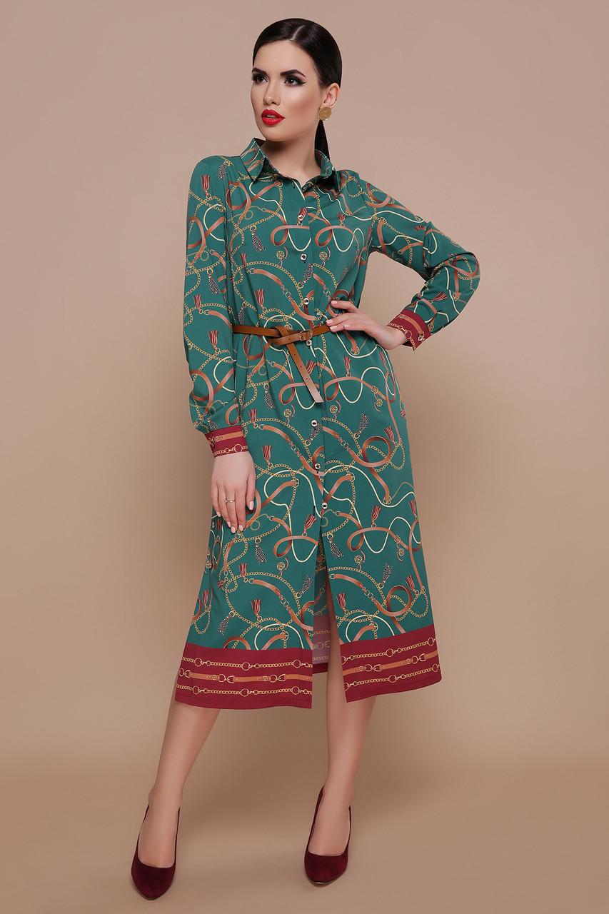 c4bb2293fda Купить Ремешки-цепи платье-рубашка Зарина д р изумруд по лучшей цене ...
