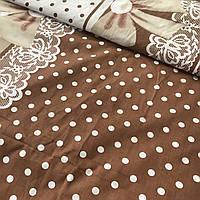 Бязь прованс с бантиком и горошками на коричневом фоне, фото 1