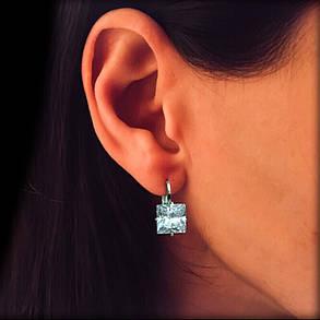Серебряные серьги с квадратными фианитами, фото 2
