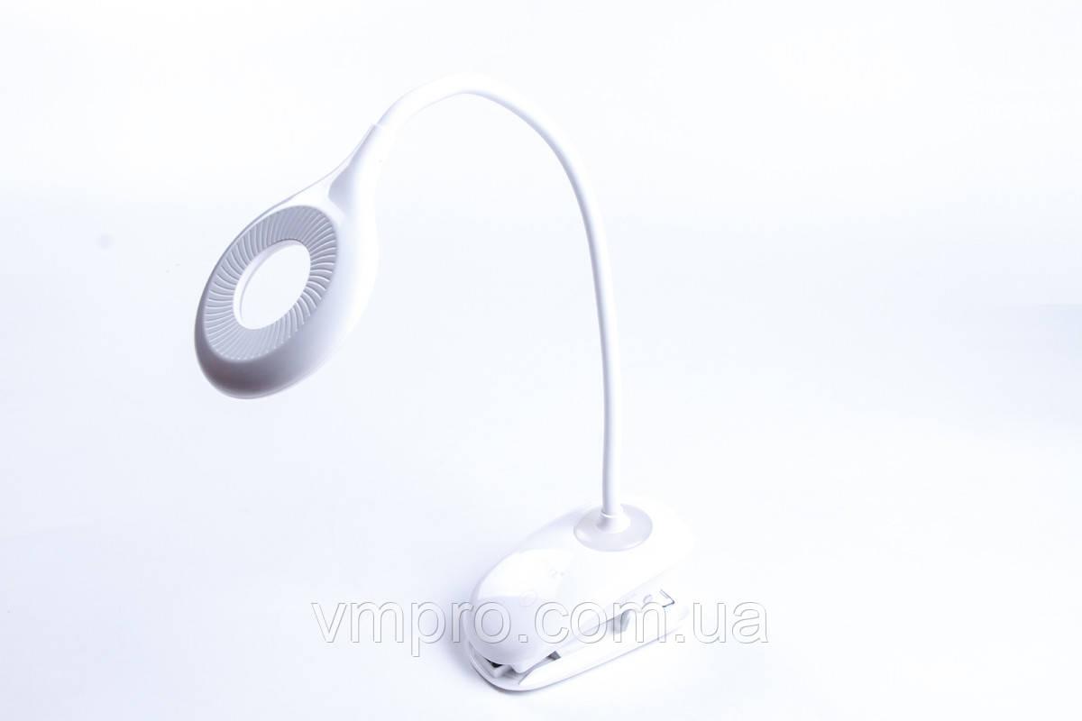 Лампа настольная светодиодная Luxel 6W + ночник, USB, аккумулятор, клип-крепление, настольные LED светильники