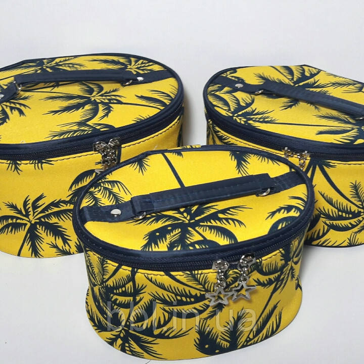 Набор косметичек 3 шт Пальмы желтый