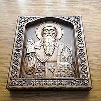 Икона деревянная, резная Святой Спиридон Тримифунтский