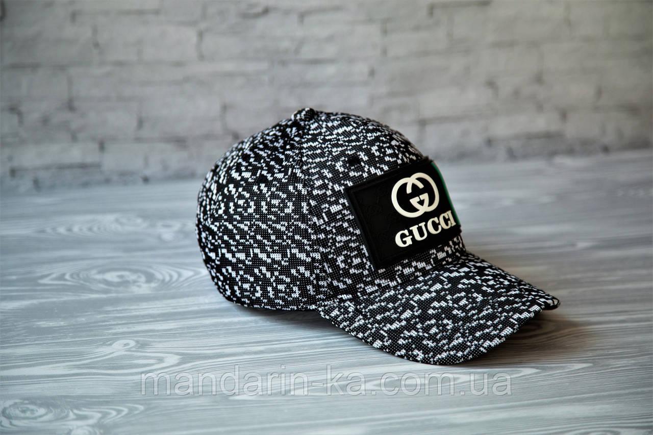 Кепка бейсболка блайзер Gucci Гуччи  черно-белая (реплика)