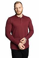 Футболка поло мужская с длинным рукавом бордового цвета