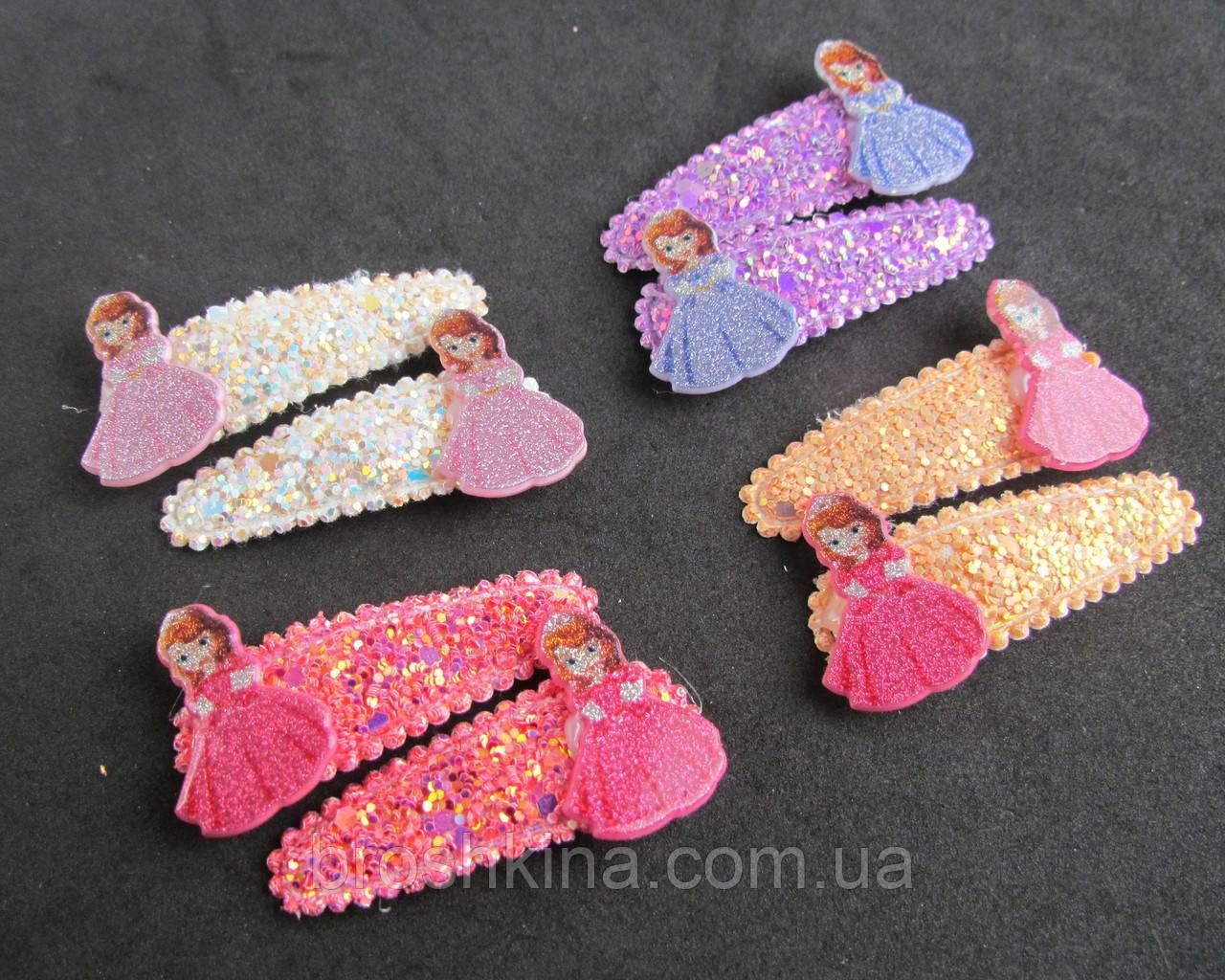 Заколки для волос тик-так с блестками Принцесса София 10 пар/уп.