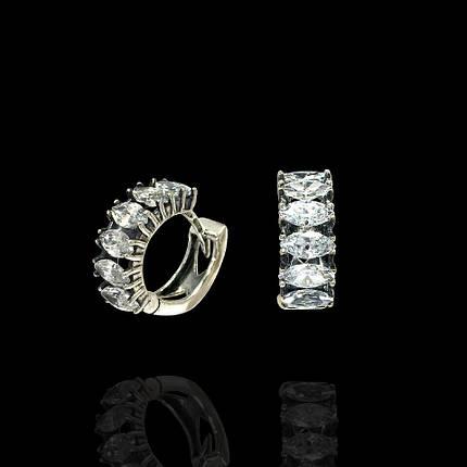 Серебряные серьги с фианитом, 12 камней, фото 2