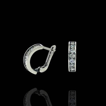 Срібні сережки з фіанітами, 14 каменів, фото 2