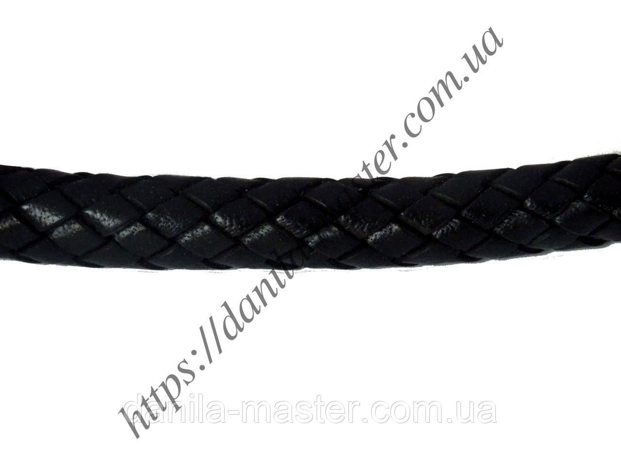 Шнур кожаный черный (плетеный) (d=10,0мм)