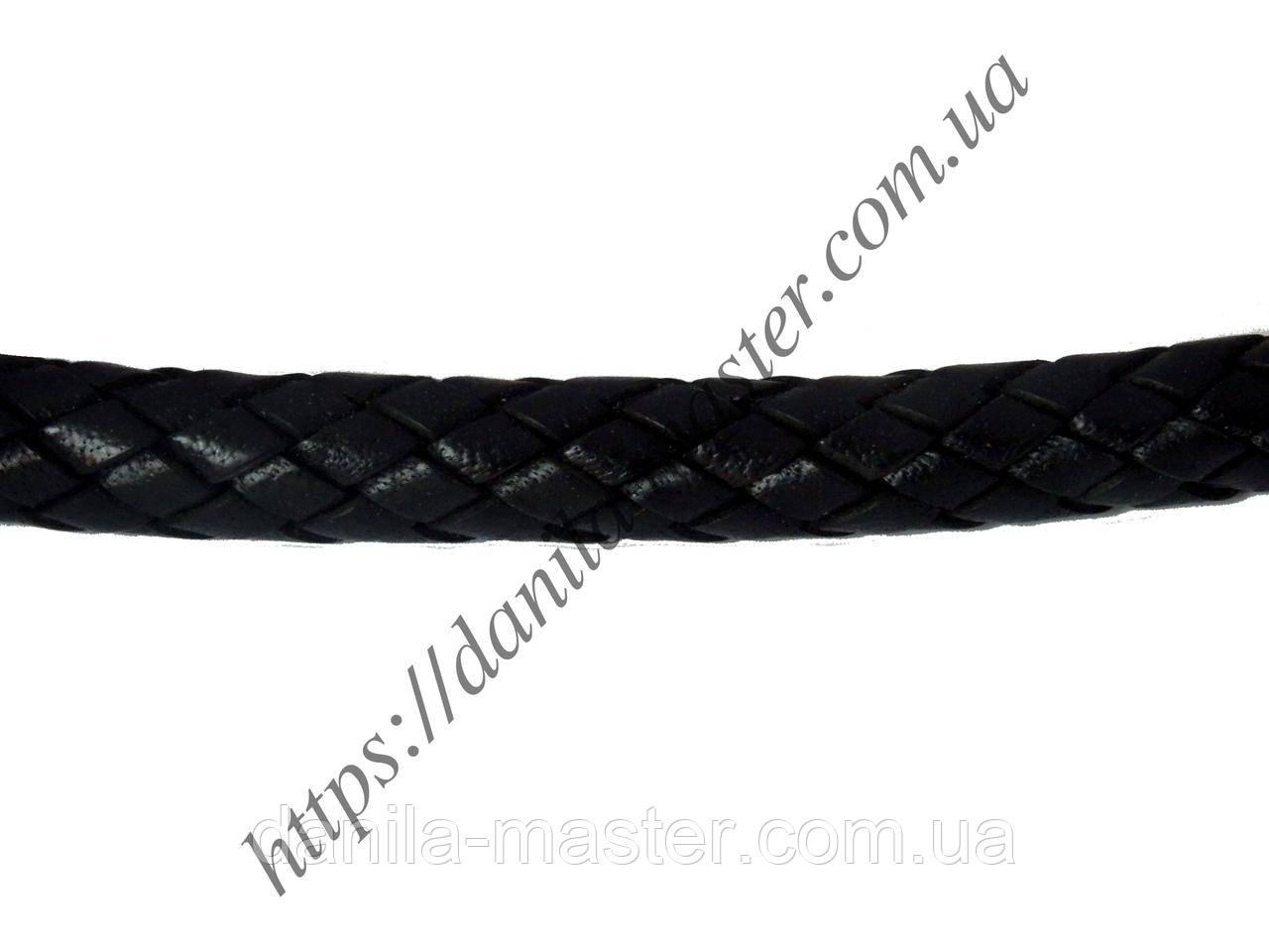 Шнур шкіряний чорний (плетений) (d=9,0 мм)