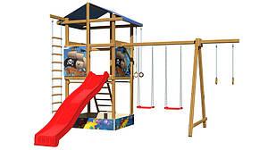 Дитячий майданчик SportBaby №8 дерев'яна вежа з гіркою гойдалки кільця, мотузкові сходи