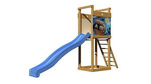 Дитяча гірка SportBaby-2 синій пластик на майданчику дерев'яно