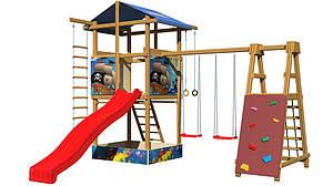 Дитячий майданчик SportBaby-9 деревнная з гіркою гойдалками