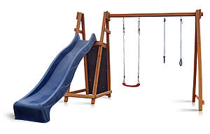 Деревнный дитячий комплекс Sportbaby Babyland-8 для вуличної майданчики гірка з гойдалкою кільцями скелелазка