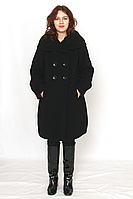 Пальто женское кашемировое чёрное двубортное на пуговицах модель 4336