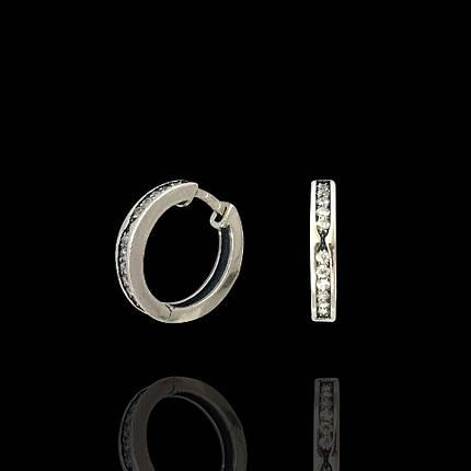 Серебряные серьги с фианитами, 22 камня, фото 2