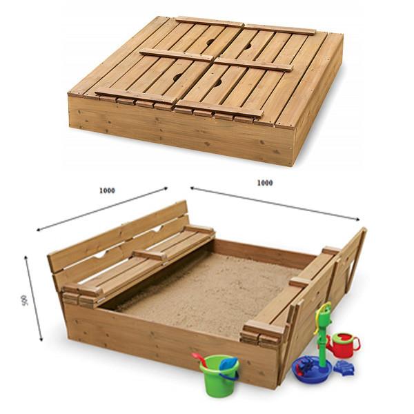 Детская песочница SportBaby-28 100х100 см деревянная с лавочками и крышкой для улицы