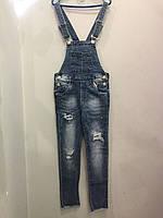 Модный подростковый джинсовый комбинезон для девочки 8(140),12(152)