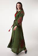 """Довга сукня з клинами з вишитим візерунком """"Квітковий сад""""."""