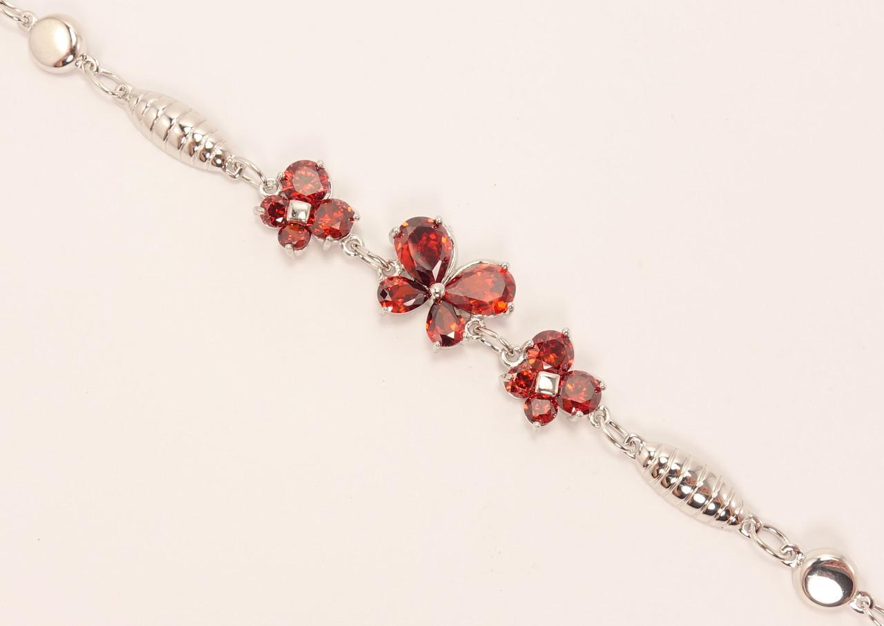 """Браслет ХР Родій """"Три Червоні Метелики"""" з дод. ланцюжком довжина 18-24,5 см"""