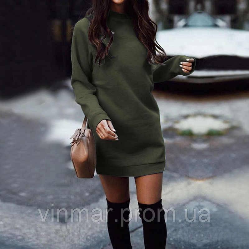 Теплое платье с длинным рукавом