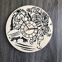 Бесшумные настенные часы из дерева круглые «Животные», фото 1
