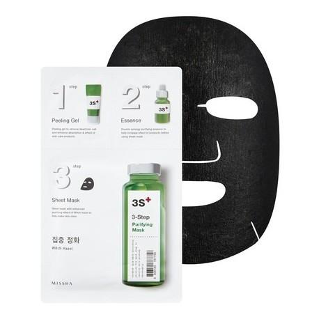 Маска тканевая для лица ОЧИЩАЮЩАЯ  (PURIFYIN) MISSHA 3-step Mask , пилинг, питание эссенцией, очищение