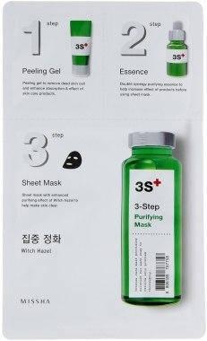 Маска тканевая для лица ОЧИЩАЮЩАЯ  (PURIFYIN) MISSHA 3-step Mask , пилинг, питание эссенцией, очищение, фото 2