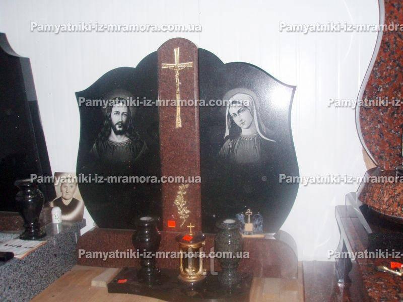 Памятник для двоих с Иисусом и девой Марией № 64