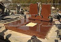Двойное надгробие из красного гранита № 66
