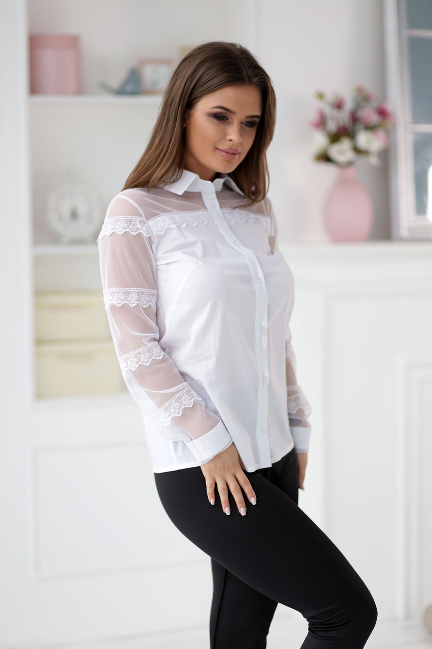 7101db8c929 Женская блузка с сеткой и кружевом - Магазин женской одежды и аксессуаров в  Украине - Annika