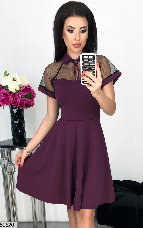 Женское платье короткое юбка солнце клеш с воротником короткий рукав марсала
