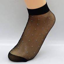 Капроновые носки в горошек черные женские - максимум 37-38размер