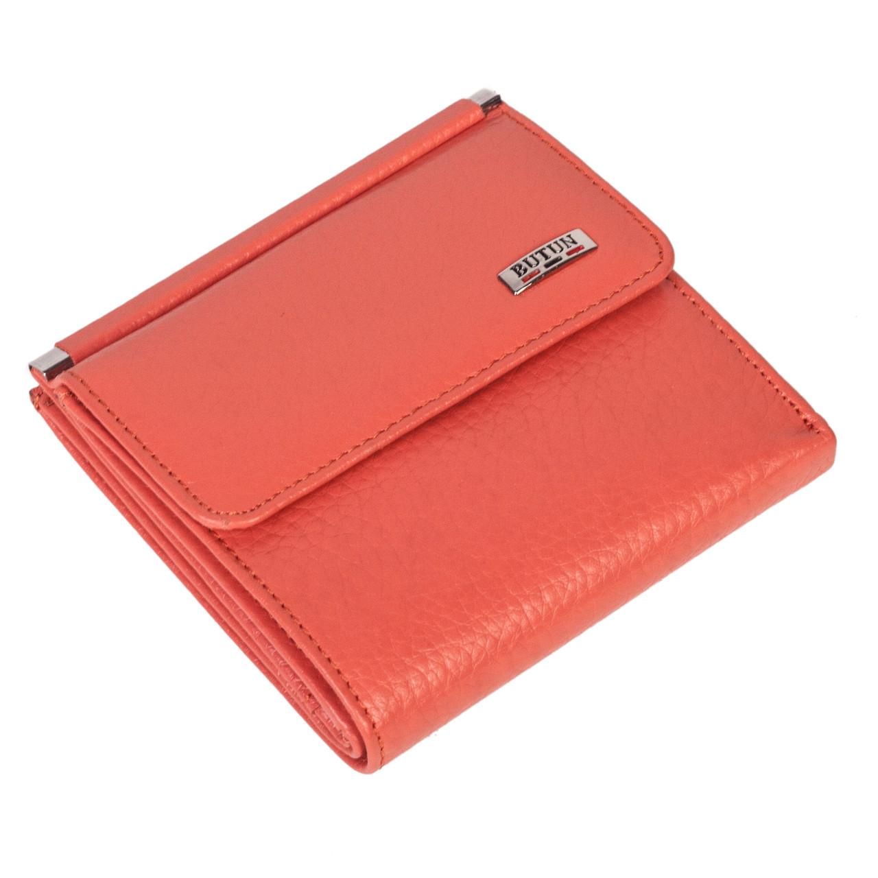 Женский кошелек Butun 590-004-046 кожаный коралловый