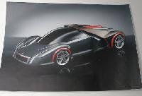 Наклейка на ноутбук Maxxtro 0589, спорткар, универсальная