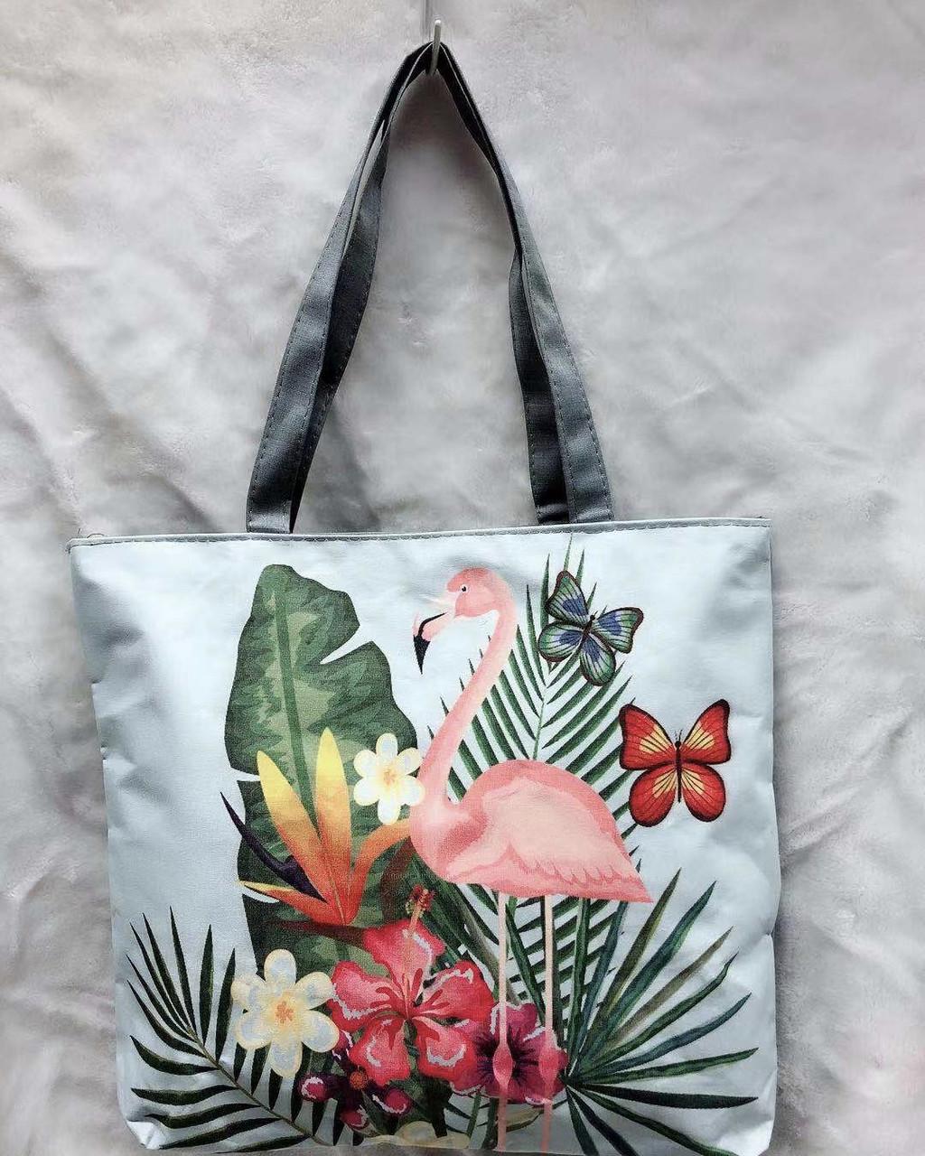 Городская тканевая сумка с фламинго