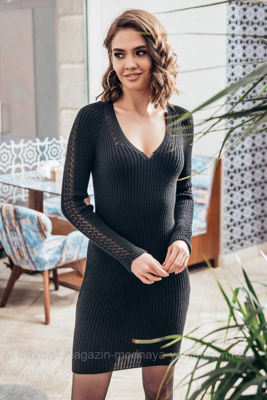 Платье вязаное с ажурными рукавами Грэйс р. 42-48 черный