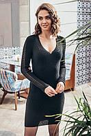 Платье вязаное с ажурными рукавами Грэйс р. 42-48 черный, фото 1
