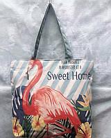 Сумка тканевая городская Фламинго