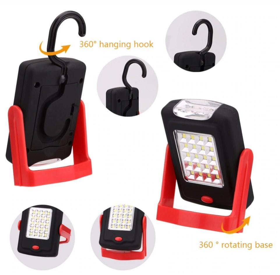 Кемпинговый фонарь Luxury 2003-20SMD+3Led с магнитом и крючком красный