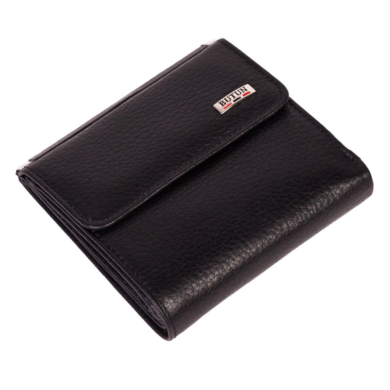 Маленький женский кошелек Butun 590-004-001 кожаный чёрный