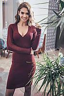Платье вязаное с ажурными рукавами Грэйс р. 42-48 маренго, фото 1