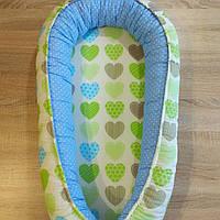 Кокон гнёздышко для новорождённого 3в1 masterwork 90*50 см. голубой с зеленым