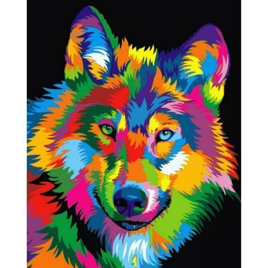 Картина по номерам Радужный волк 40 х 50 см (VP988)