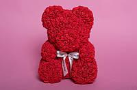 Мишка из роз Wish Mish Bless Красный с лентой 25 см