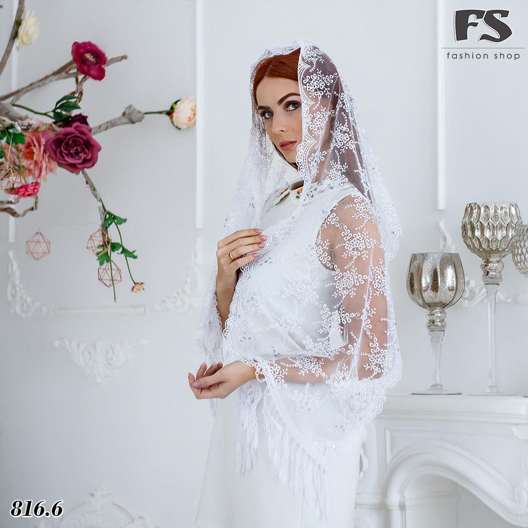 Свадебный белый шарф Лира со стразами