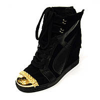 Маранты черный замш носок золото