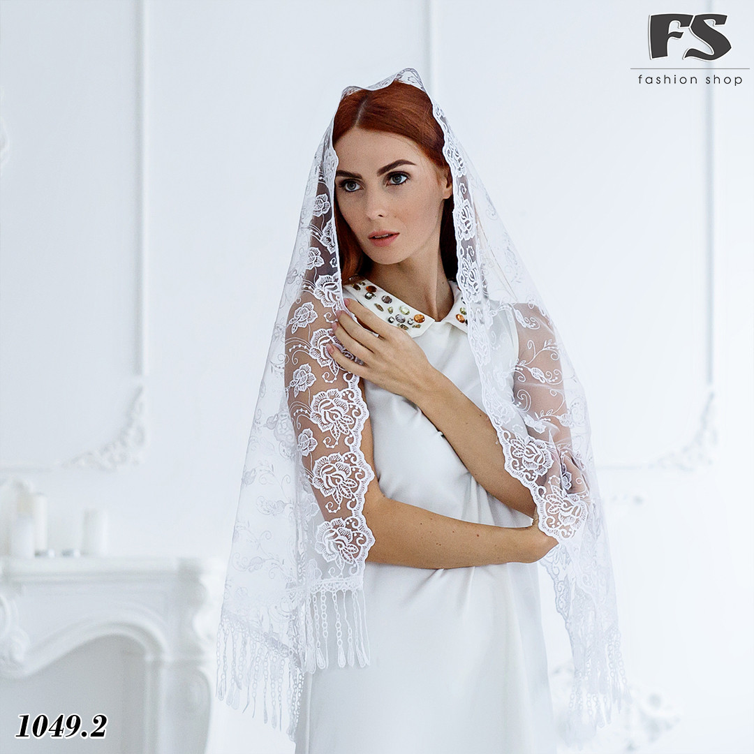 Свадебный шарф белый Цветочки