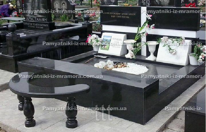 Двойное надгробие со вставками мраморными №91