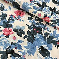 Лён стрейчевый итальянский с синими и розовыми цветами, ширина 135 см, фото 1