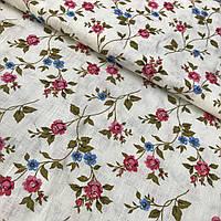 Льон з рожевими і блакитними квітами на молочному тлі, ширина 150 см, фото 1